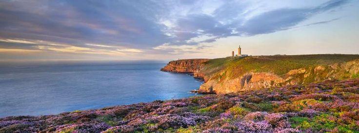 Le Cap Fréhel  [Plévenon, Côtes-d'Armor (22), Bretagne] est l'un des sites les plus impressionnants de  Bretagne avec des falaises dominant la mer de 70 mètres. Le phare actuel, dont le feu porte à 110 km, domine la mer de 103 mètres. Du haut de ses 145 marches, il est même possible par temps clair d'apercevoir Jersey, à 50 km au large. Des sentiers aménagés dans les landes de bruyère permettent de découvrir la côte de Sables d'Or les Pins à Fort La Latte.