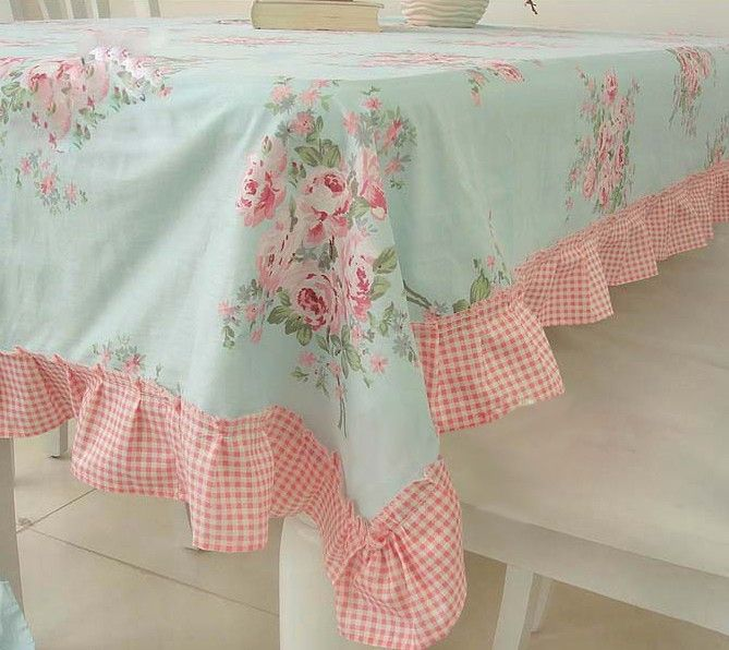 Chic Ruffled Tablecloth...love this combo of fabrics.