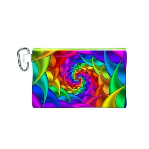 Psychedelic+Rainbow+Spiral+Canvas+Cosmetic+Bag+(Small)