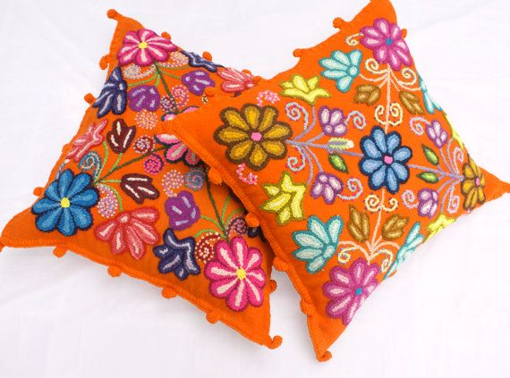 20 x 20 Pillow Peruvian embroidered flowers handmade Set of 2 Orange cushion covers Sheep & alpaca wool