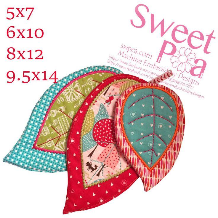 Leaf mugrug 5x7 6x10 8x12 and 9.5x14 in the hoop machine embroidery design