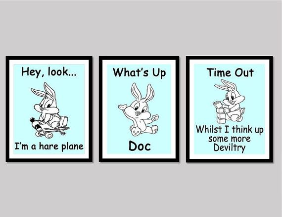 Set of 3 - Baby Bugs Bunny poster digital downloads - Whats Up Doc - Made by Gia - $10.50