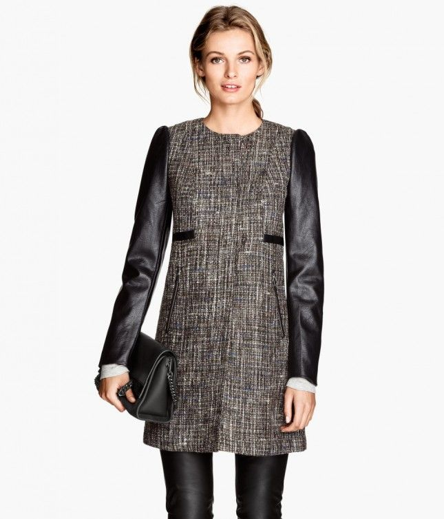 Rock this tweed and leather coat all winter long.