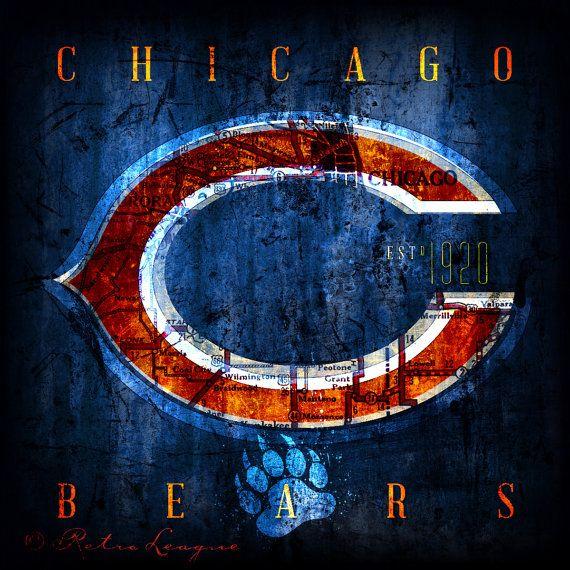 Chicago Bears Retro City Maps  Perfect Birthday by RetroLeague, $24.00