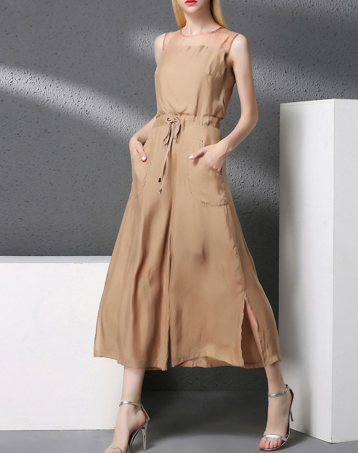 Check the details and price of this Apricot Sleeveless Wide Leg Palazzo Jumpsuit (Apricot, YI PIN WAN) and buy it online. VIPme.com offers high-quality Jumpsuits & Rompers  at affordable price.
