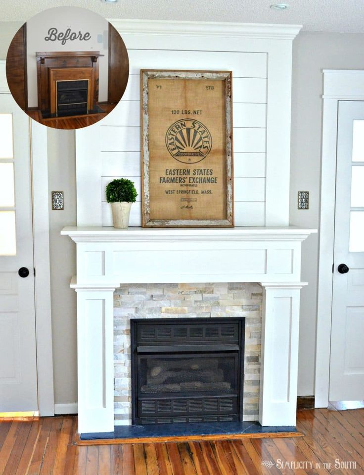 A fireplace surround is given a farmhouse style makeover using ply wood, crown molding, quartz ledge stone tile and recessed lighting for $264.