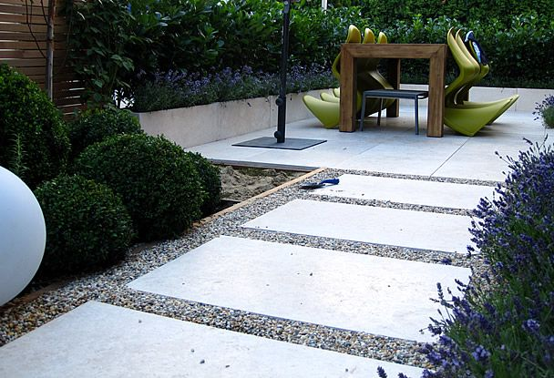 Moderner Garten Kies : Moderner Garten Kleingarten Holzdeck Steinplatten Lavendelpflanzen