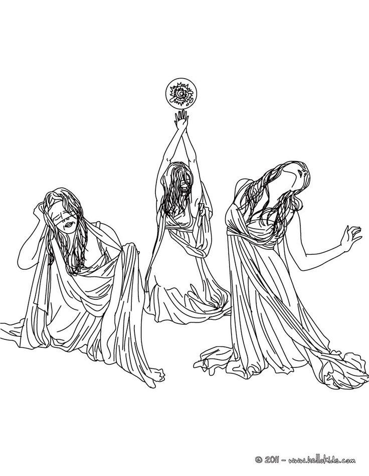 Kleurplaat GRAEAE the horrid-creatures of greek mythology coloring page