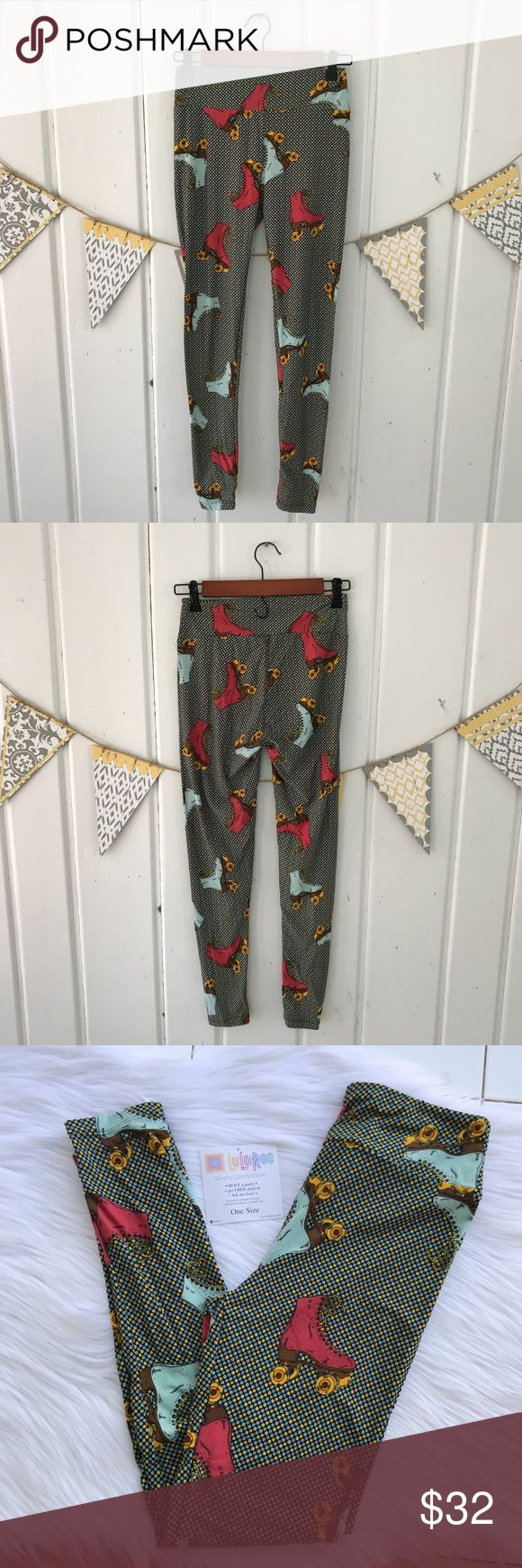 LuLaRoe Roller Skate OS Leggings LuLaRoe 2017 Roller Skate leggings. Brand new in original cellophane package with unattached tag (they never attach the tags to the leggings). These are so fun, but I have too many leggings! I am downsizing, and just trying to get my money back. I paid the full price for these.... Price Firm unless bundled.  I planned to wear these with my mustard colored Carly dress. If you already have one of those, these would be so cute with it!  Makes a great gift for…