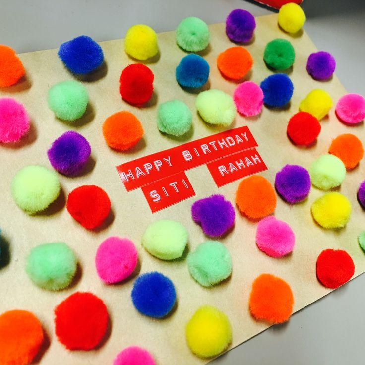 Pom-pom birthday envelope