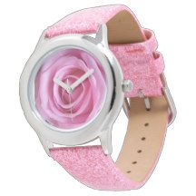 #Romantic #Valentine Love Sweet Soft #Pink #Glitter #Rose Flower #Watches