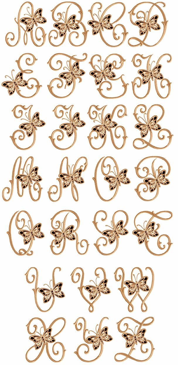 Cutwork Butterflies   machine embroidery font - natural size sample