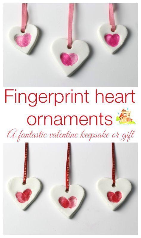 Fingerprint heart ornaments preschool valentine's day craft
