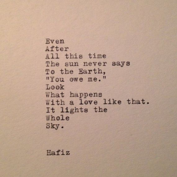 Hafiz Quote Typed on Typewriter by WhiteCellarDoor on Etsy