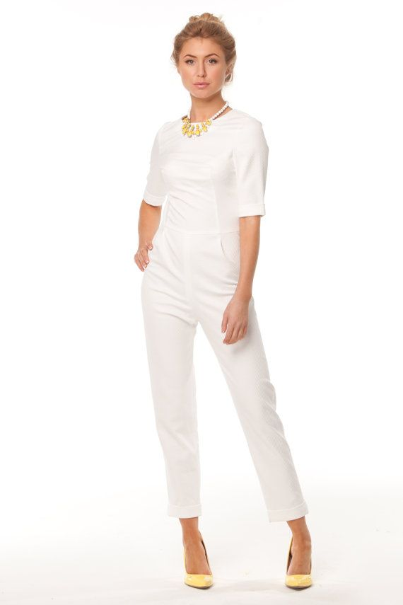 White Jumpsuit Good Quality-elegant jumpsuit-in retro style for real Lady.