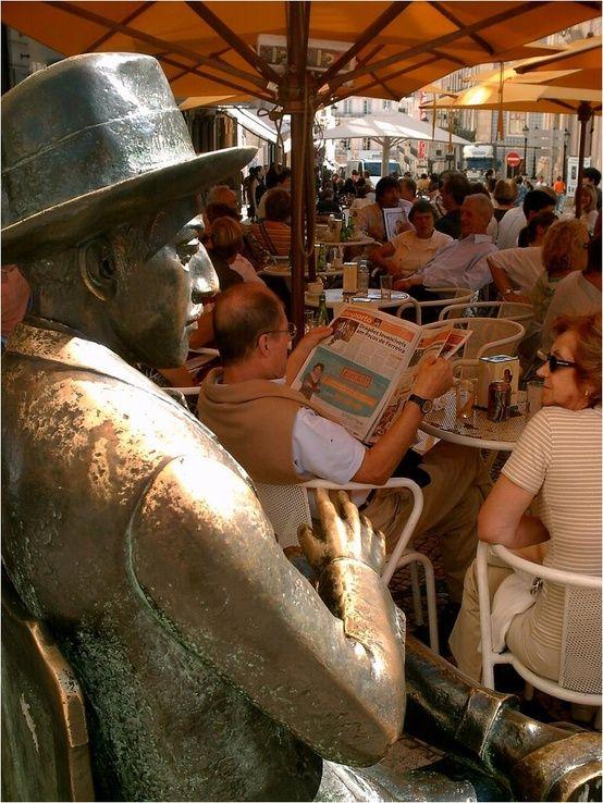 """Café """"A Brasileira"""", with sculpture of Fernando Pessoa , Chiado, Lisbon - perfect spot to have a """"Pastel de Nata and a Bica"""" #Portugal"""