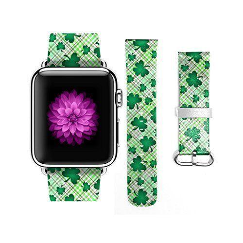 St Patricks Day Apple Watch Strap iWatch Genuine Leather Shamrock Irish NEW #iWatch