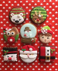 Decorated Christmas holiday cookies by sansil ~ Santa, polar bear, elf, snowman, owl, snow globe, Rudolph. Adorable! Iced biscuits. Galletas decoradas de Navidad.