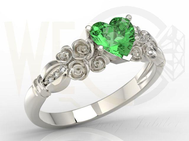 Pierścionek z białego złota z topazem Swarovski Rainforest i diamentami/ Ring made from white gold with Swarovski topaz and diamonds/ 1214 PLN /  #ring #whitegold #love #gift #jewellery