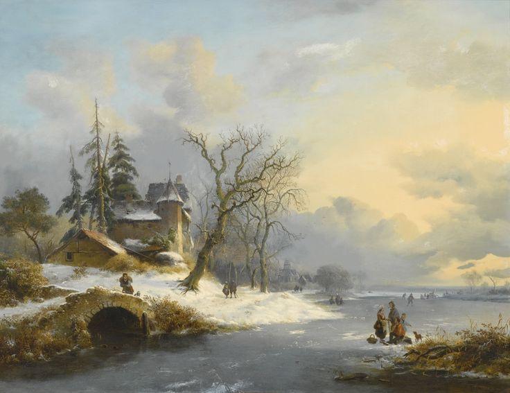 Fredrik Marinus Kruseman - Winterlandschap met schaatsers en wandelaars