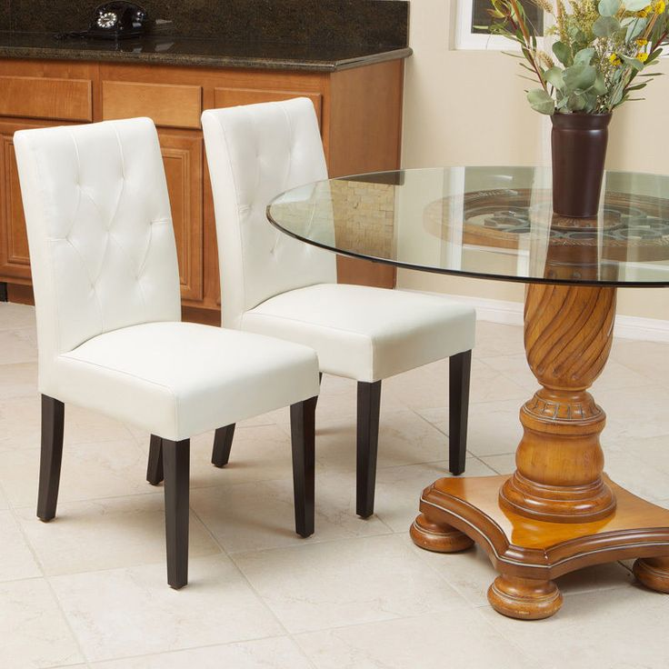 Set Of 4 Elegant Ivory White Leather Dining Room Chairs With Tufted Backrest