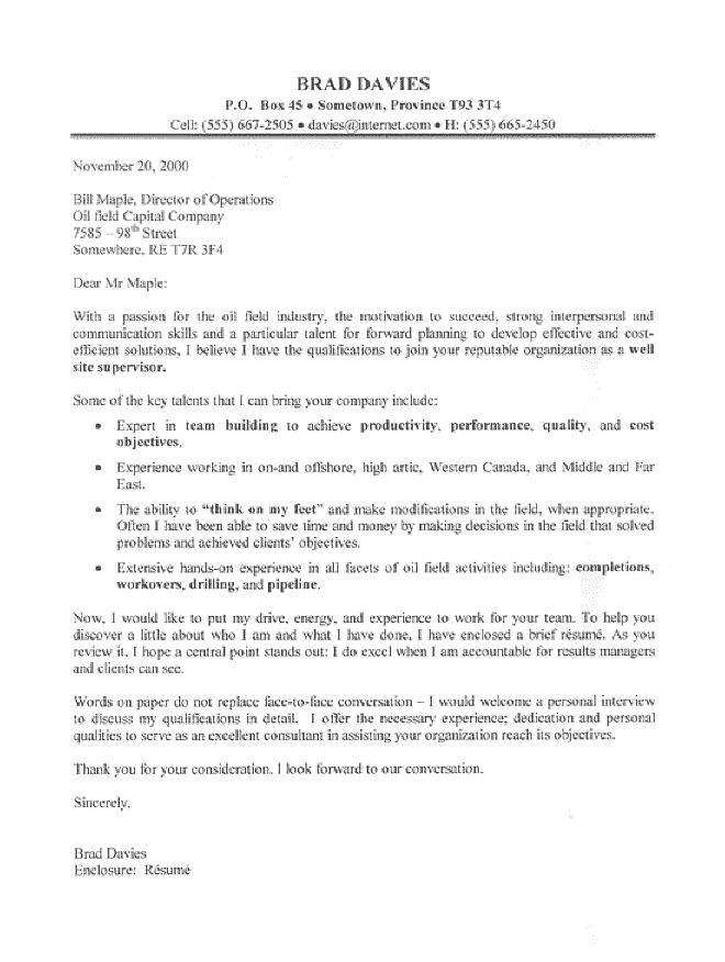 this oil field supervisor cover letter sample represents