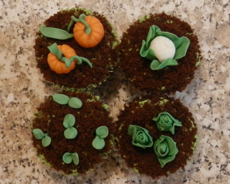 Gardening delights, chocolate muffins topped with your favourite veg, #Gardening Why not treat yourselves Great Fun share your pictures of sugar crafted garden veg here