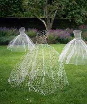 Whimsical lawn dresses made out of chicken wire