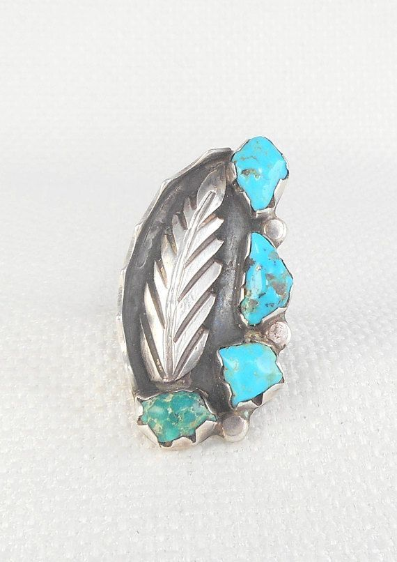 Vintage Old Pawn Nav  Vintage Old Pawn Nav  Vintage Old Pawn Navajo Ring Green and Blue Turquoise Feather