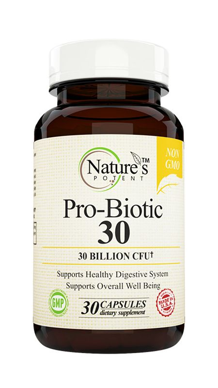 Pro-Biotic 30 Billion CFU Weight Loss Supplement developed to help keep your digestive system healthy. It contains a variety of 'good' bacteria that restore the natural micro flora of your intestines.