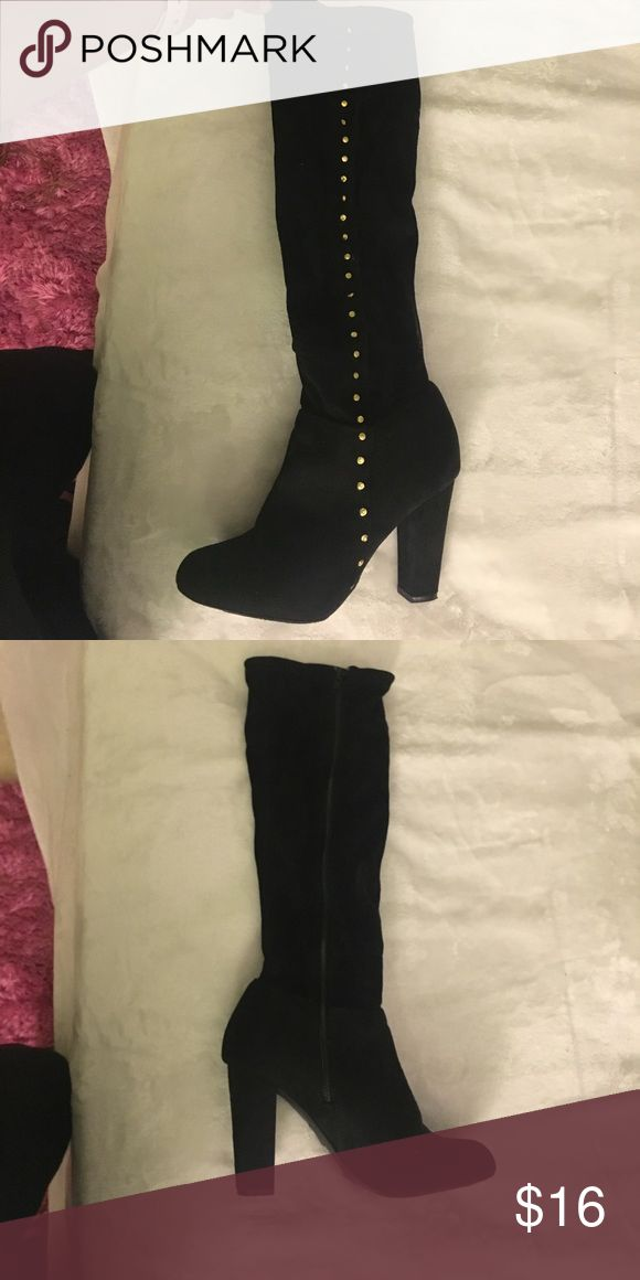 High Booties! Almost BRAND NEW ! Only worn once to a hair salon receptionist job! Charlotte Russe Shoes Heeled Boots