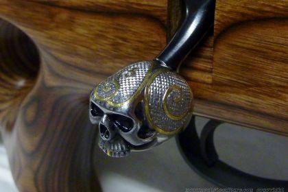 skull bolt knob custom inlay and chequering
