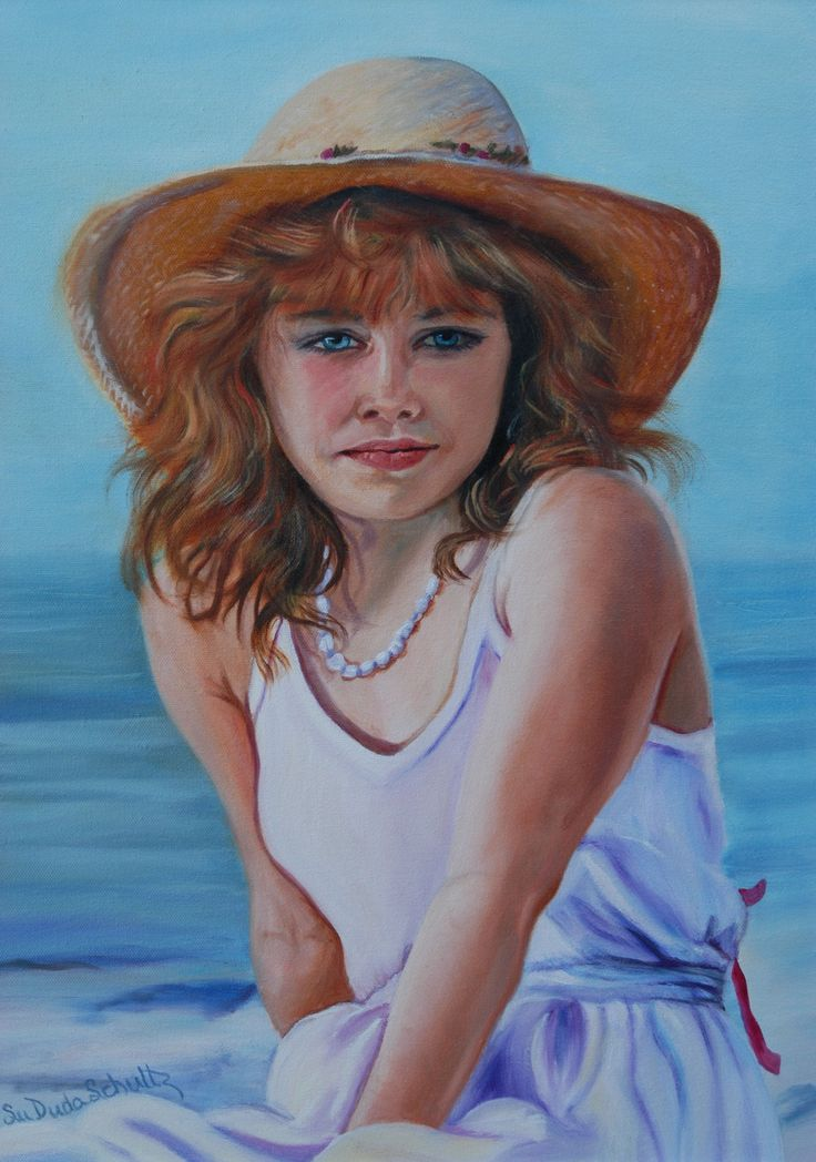 """Girl in the Straw Hat"", A beautiful oil portrait of a young girl on the beach in Florida. Original portrait or prints for saleat: susan-duda.artistwebsites.com"