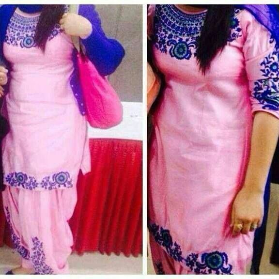 Punjabi suit...of baby pink colour with unique embroidary..<3