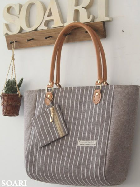 coffee stripe handmade bag