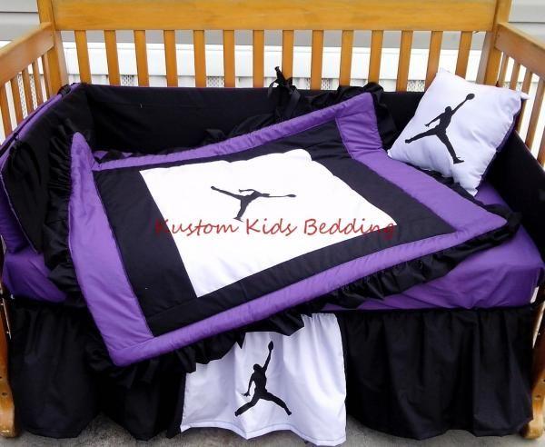 MICHAEL JORDAN Purple Black and White Crib Bedding Set