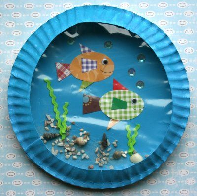 Cute fish aquarium craft.  This website sells a kit, but I think if you have some materials you can do it yourself!