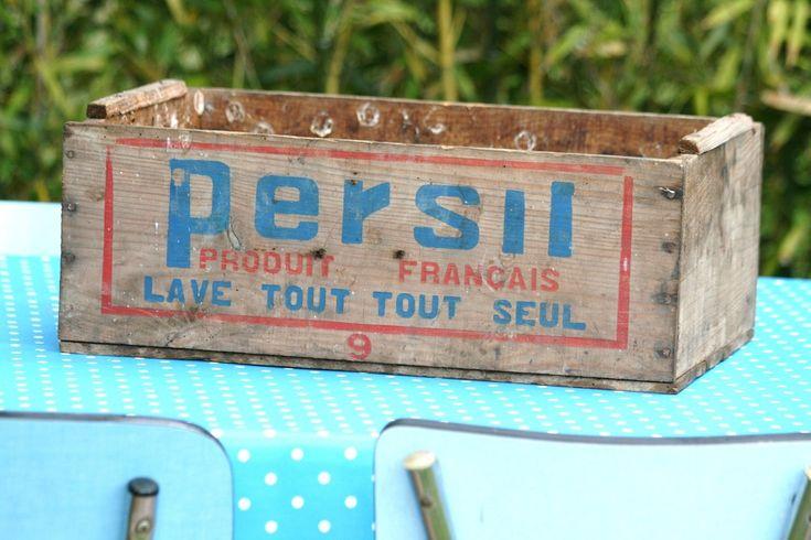 Ancienne caisse en bois lessive persil Années 60 - Vintage