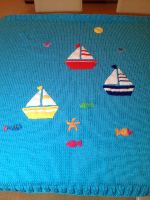 'We are sailing' cotbed blanket - very clever grandma x