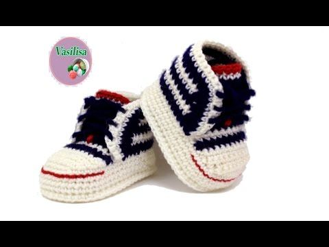DIY crochet sneakers tutorial #babybootiescrochet  #babybooties