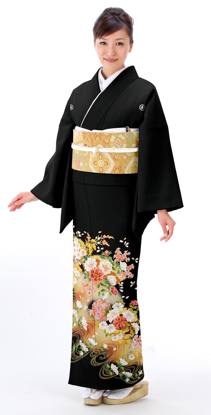 着物:流水に花扇  Kimono :  fan & flower flowing water