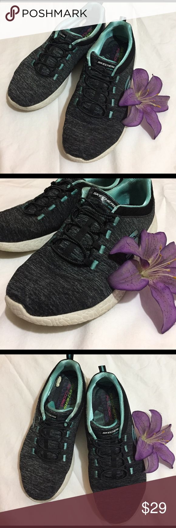 Skechers air-cooled memory foam sneakers Black and turquoise. Some wear on soles ad pictured. Otherwise very good condition. Skechers Shoes Athletic Shoes