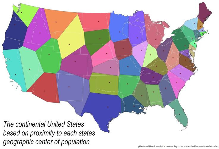 The continental U.S. based on proximity to each states geographic center of population