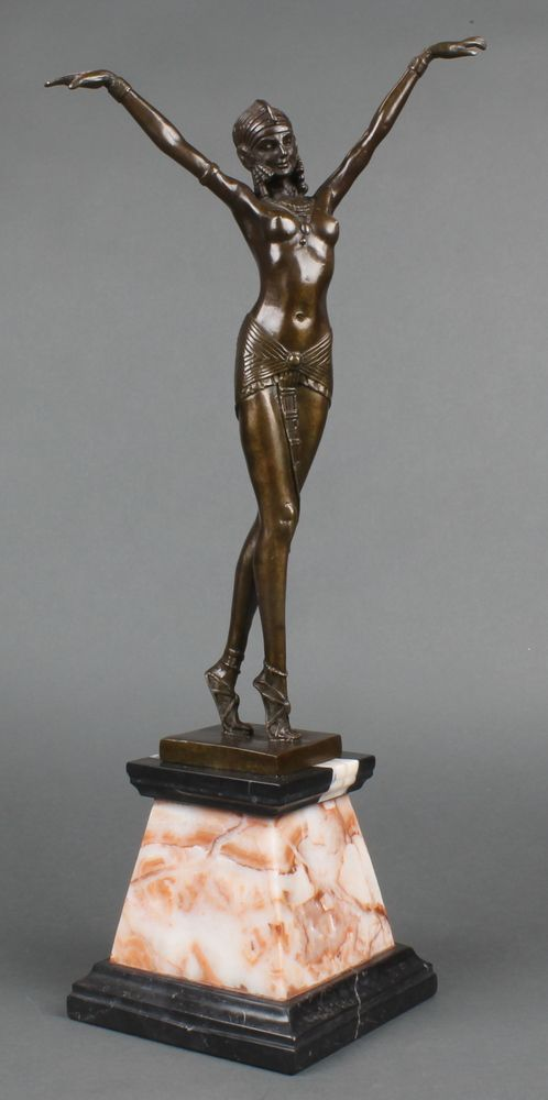 "Lot 237, An Art Deco style bronze figure of a standing lady with arms outstretched, raised on a tapered 2 colour marble base 22""h, est £150-200"