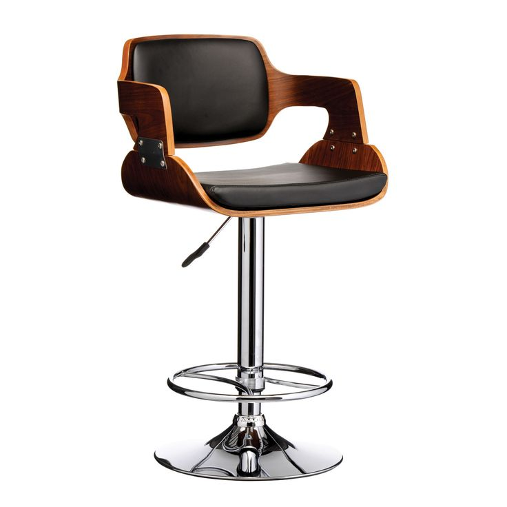 Awesome Adjustable Bar Stool Idea with Back and Arm also Stainless Steel Base and Wood and Leather Top