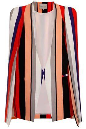 **Multi Stripe Cape Blazer by Lavish Alice