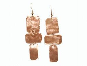 wwww.arwerner.com  Square Geometric Dangle Earrings - Copper Earrings