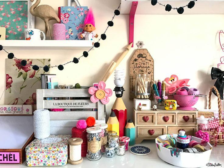 Eliston Button Headquarters - Creative Craft Studio - French Storage Crate, Twine, Pencil Lamp and a Happy Troll - Eliston Button Headquarters – Part Two at www.elistonbutton.com - Eliston Button - That Crafty Kid – Art, Design, Craft & Adventure.