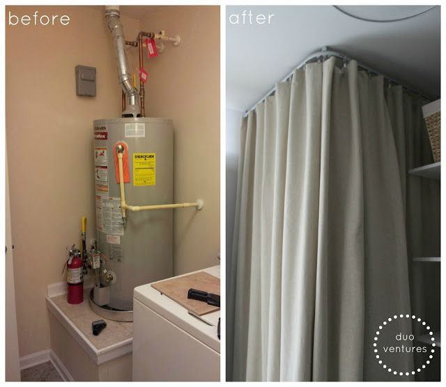 Ikea Kvartal Ceiling Mounted Curtain Track System To Hide The Water Heater Home Schweet Home