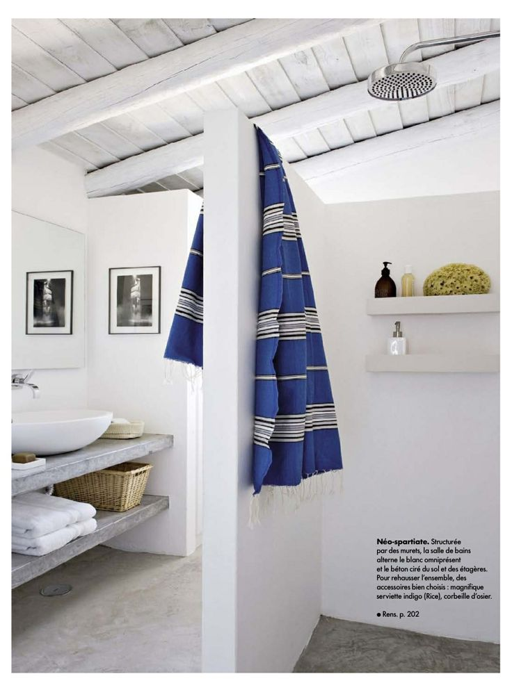 Inspiring ideas from Bathrooms.com: More western French holiday home in style than suburban semi, you can still achieve this look with ease by keeping everything pared back, ladling on the white paint and choosing the smartest of stripy towels. #bathrooms #bathroom #bathroomideas #bathroomseaside From Elle Deco